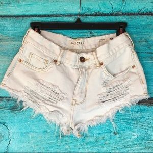 High Rise Cutoff Destroyed Jean Shorts by Bullhead